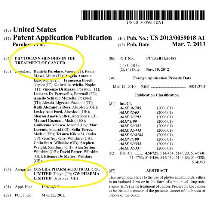 """Otsuka and GW Pharmaceuticals attempt to patent preparations of """"Phytocannabinoids"""" (herbal cannabinoids) for the treatment of Cancer"""