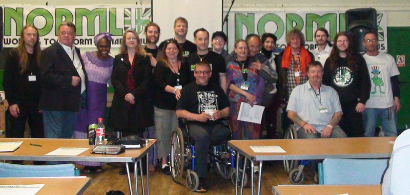 Speakers and organisers of the NORML UK AGM held in at the Malcolm X Community Centre, Bristol 2013.