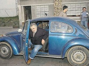 President Jose Mujica in his VW Beetle wants to see a legal and regulated cannabis market in Uruguay.