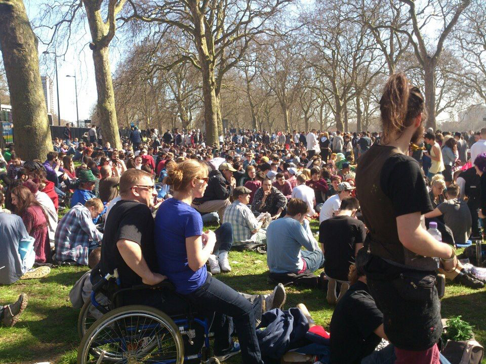 Civil disobedience with thousands of people smoking pot at the 420 Hyde Park smoke out organised by the London Cannabis Club.