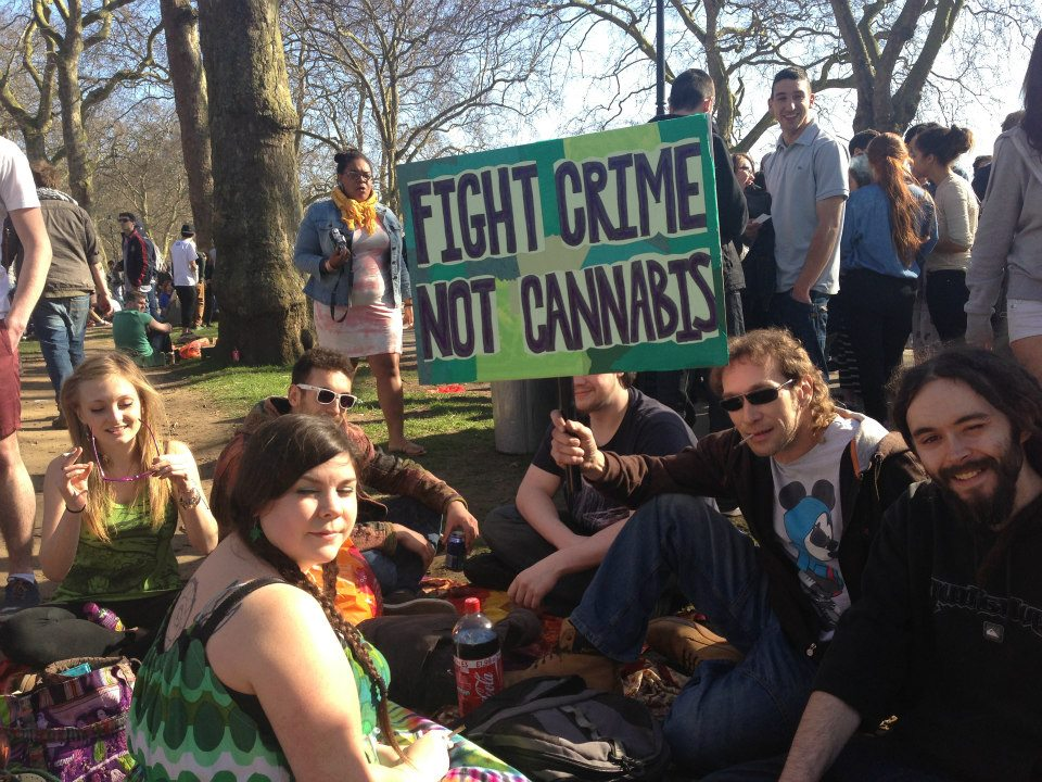 Civil disobedience: People peacefully protesting against Britain's unjust cannabis laws at Hyde Park 420 smoke out.