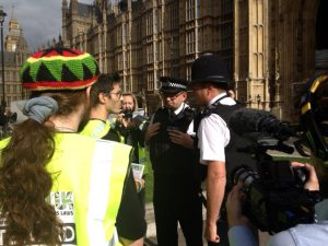 Police Officers sent by Black Rod to try to disperse the protest incorrectly said we were on private land.