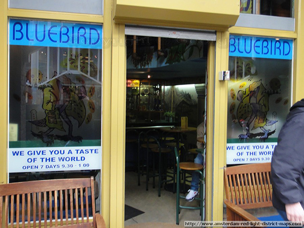 Bluebird coffeeshop in Amsterdam, Holland.