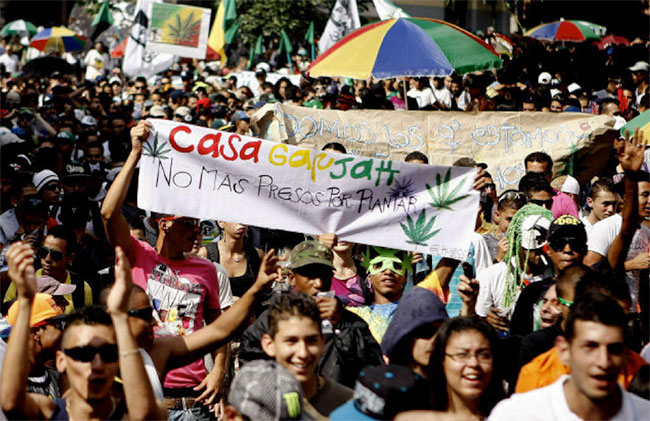 Cannabis legalisation rally in South America