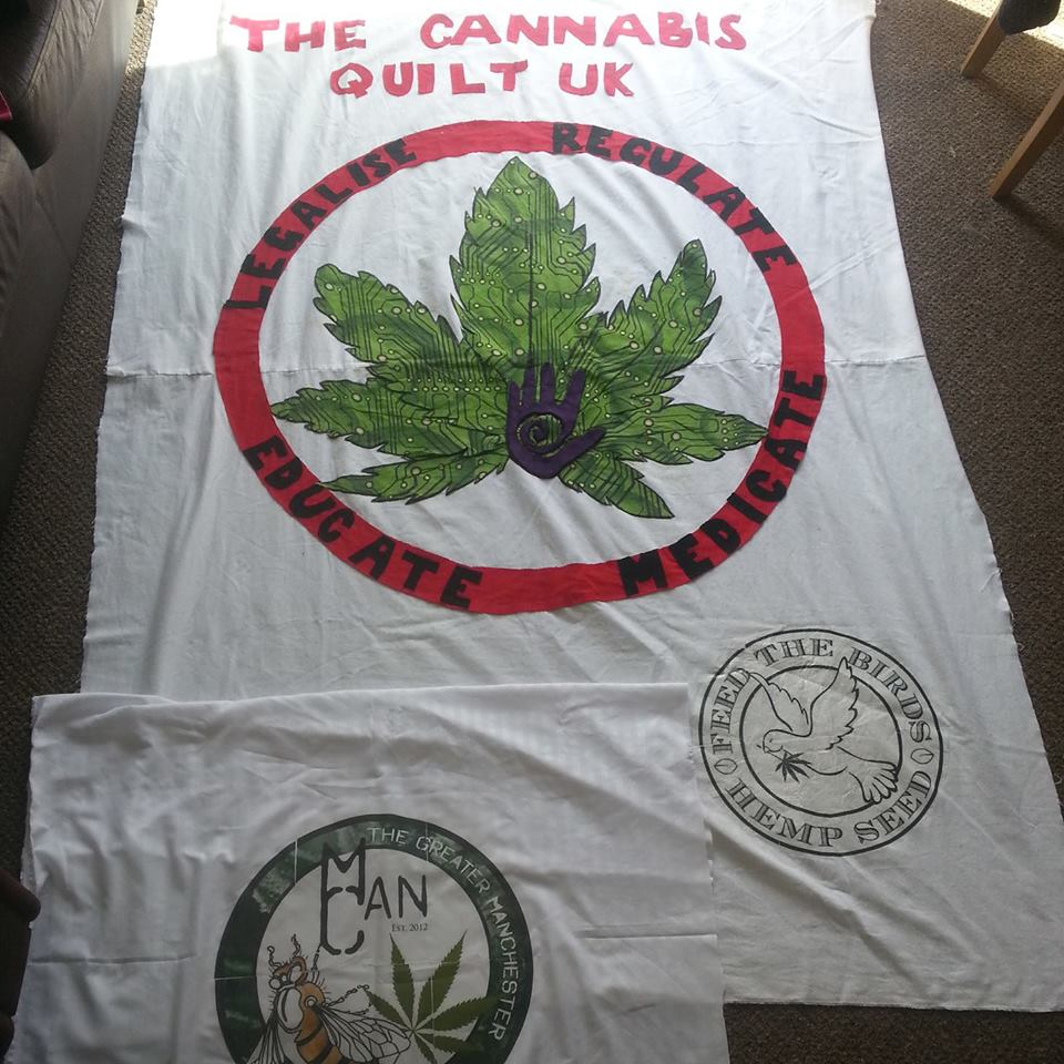 First few patches for The Cannabis Quilt UK. Send your patches now. Further details from the cannabisquilt@norml-uk.org
