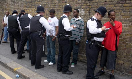 Police stop and search black people disproportionately in the UK.