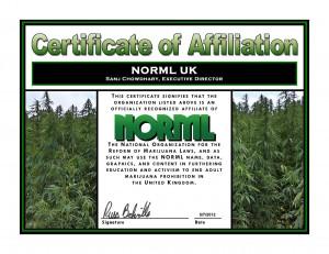 NORML UK affiliate certificate