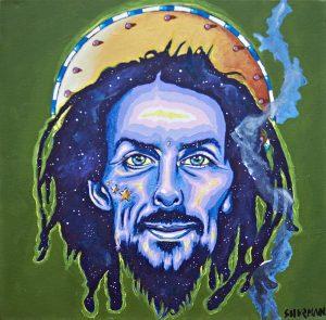 Portrait of medicinal cannabis consumer, Indigo Hawk, by Devon artist, Michael Shurman.