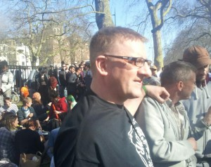 Andy Bishop who uses cannabis as a medicine at the Hyde Park smokeout 2013