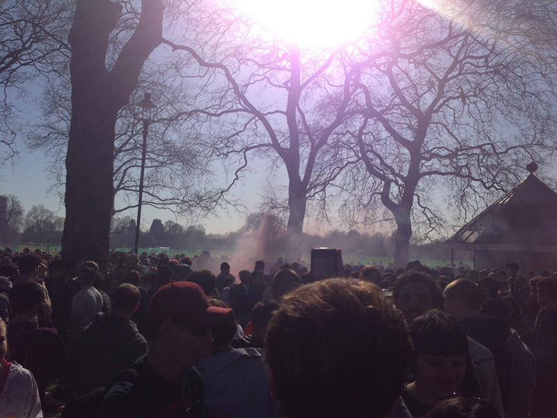 The sun sets at the London 420 cannabis protest in Hyde Park 20th April 2013.