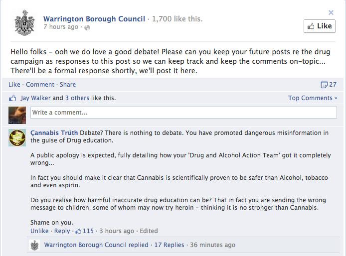 Cannabis is stronger than heroin claim Warrington Borough Council.