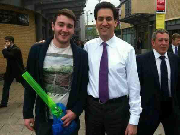 Ed Miliband photographed with a high student holding a big bong.