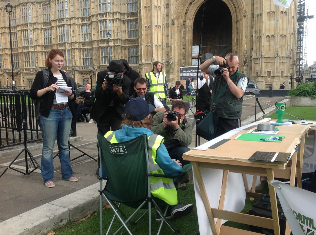 Clark French, Medical Director for NORML UK, speaks with the press.