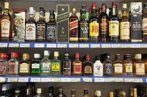 Legally available bottles of alcoholic drinks, which are far more dangerous than cannabis.