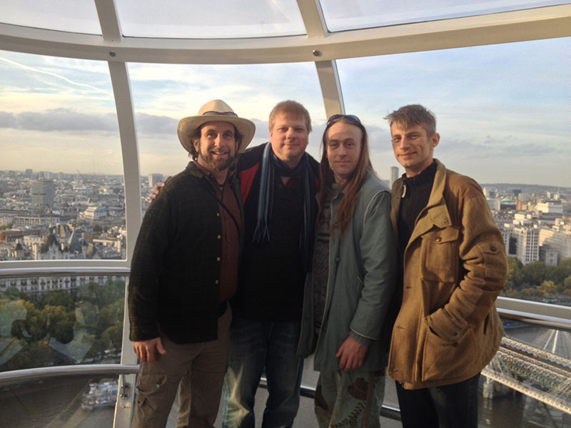 Doug Fine, Chris Bovey, Twr Earl and Michel Degens on the London Eye.