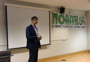 Michel Degens, founder of the Mambo Cannabis Social Club speaking at London South Bank University.