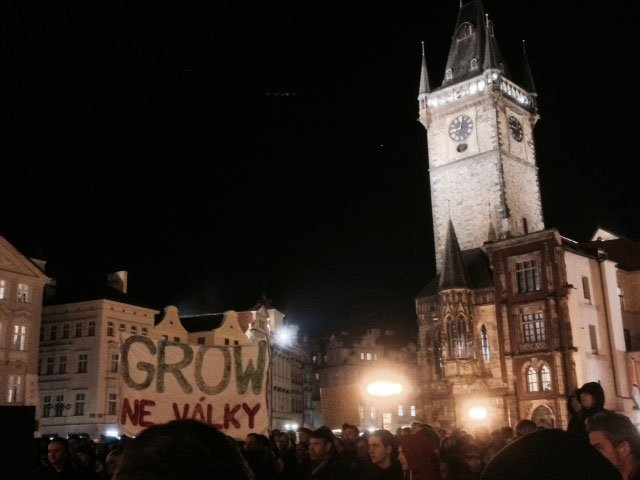 Demonstration at Old Town Square, Prague, against the closure of growshops in the Czech Republic.