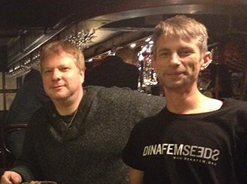 UK cannabis activist, Chris Bovey, with Michel Degens.