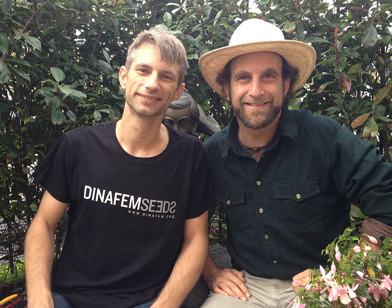 Michel Degens, founder of the Mambo Cannabis Social Club and US Author, Doug Fine.