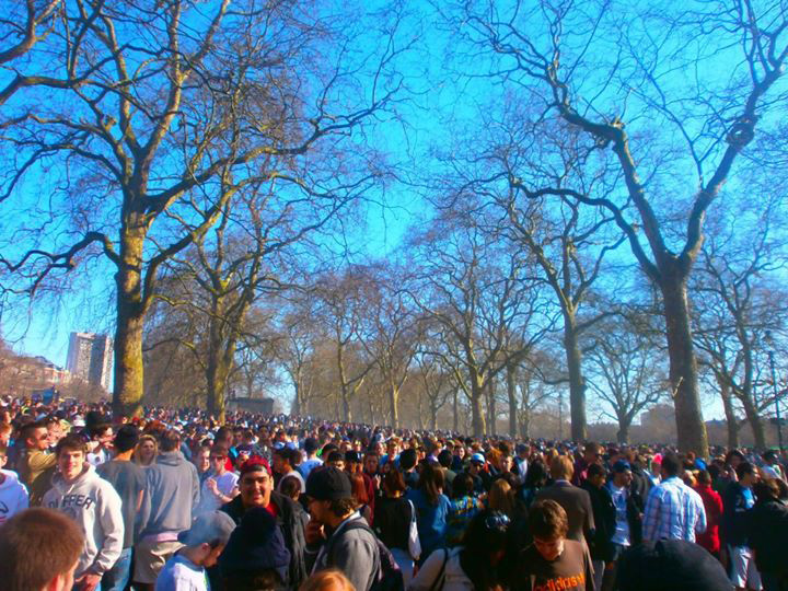 The 420 cannabis smoke-out at London's Hyde Park, April 2013 organised by the London Cannabis Club.
