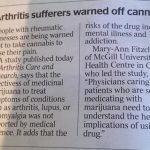 Arthritis sufferers warned off cannabis