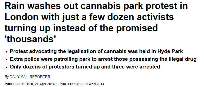Daily Mail 420 Hyde Park protest headline