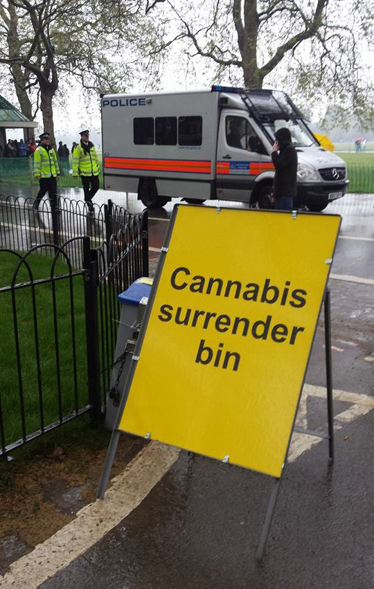 Dumb sign at Hyde Park 420 Cannabis Protest NORML UK