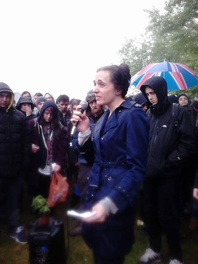 Caroline Allen Green Party MEP Candidate speaks at Hyde Park pro Cannabis Rally, organised by NORML UK April 2014