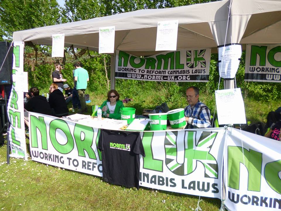 Volunteers manning the NORML UK information stall