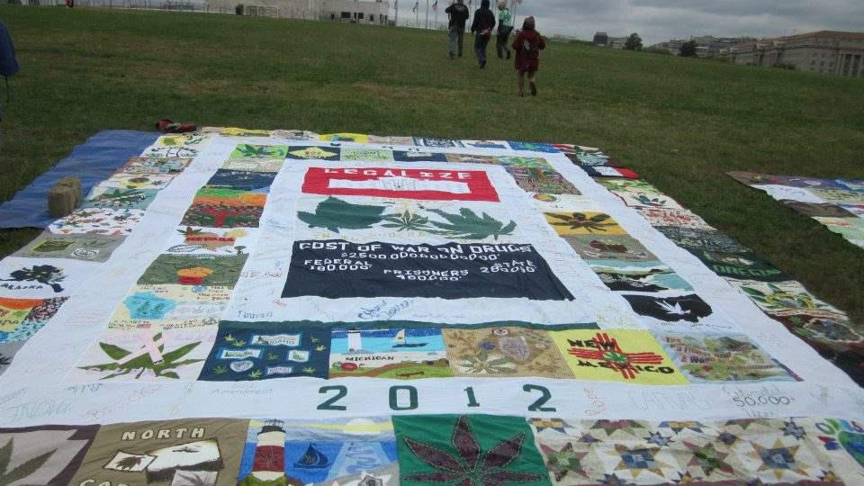 Cannabis Quilt in US. Main Panel. Stolen and returned in Dallas, Texas.